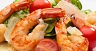 Fresh lemon spicy grass shrimp salad